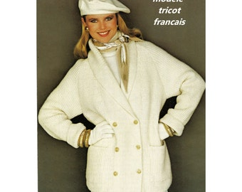 DF French language Knitting Pattern Womens Jacket Modele Patron Tricot Francais Veste Court Manteau Femme 2 Sizes Tailles Lâche au 48