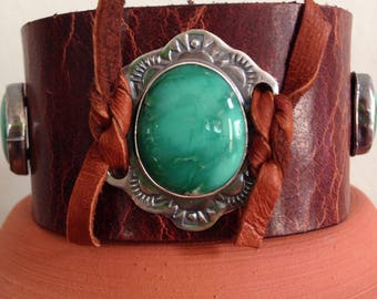Handmade Leather Cuff, Southwestern, Green Broken Arrow Variscite, Wide Brown Water Buffalo Leather Cuff, One Of A Kind