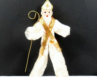 Christmas Chenille Santa Claus Bishop Saint Nicholas Ornament Composition Clay Face Vintage 1940s
