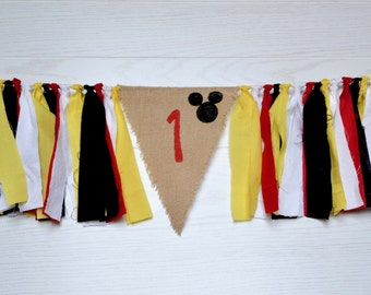Mickey Mouse 1st birthday Banner - boy 1st birthday decor - Mickey mouse birthday -  boy 1st birthday - high chair banner - boy birthday