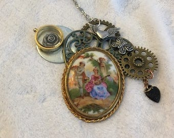 Steampunk Beauty! Genuine French-Limoges Porcelain Meets Funk!Elegant, Sophisticated makes this necklace unique!