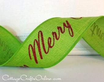 "Christmas Wired Ribbon 2 1/2"", Merry Christmas Script - TEN YARD ROLL - Lime Green with Red Glitter ""Merry Lime"" Wire Edged Ribbon"