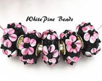 Black with Pink Flower Murano Glass Bead Fits European  Style Charm Bracelets