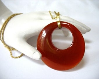 Large Carnelian Pendant Necklace, Donut Hole, Round Disk, Translucent Stone, Burnt Orange, Gold Tone, Gift Idea, Mother's Day, Excellent