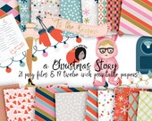 Cute Christmas Story Clipart Retro Holiday Colorful Pattern Digital Paper Files for Printed CU like Planner Stickers and Cards