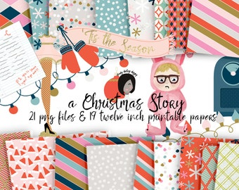 Cute Christmas Story Clipart Retro Holiday Colorful Pattern Digital Paper Files for Printed CU ...