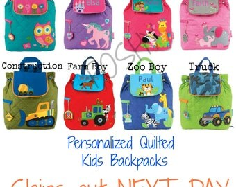SHIPS OUT NEXT Day  Monogrammed Stephen Joseph Quilted Backpack / Children and Toddler Backpack / Personalized /Girls Boys Backpacks