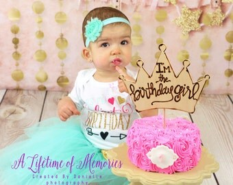 Birthday Party Princess Cake Topper Photo Prop Royal Crown • I'm the Birthday Girl •  First Birthday • Baby