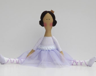Princess doll ballerina doll rag doll, pastel lilac purple customized doll handmade cloth doll stuffed doll softie, rag doll ballet dancer