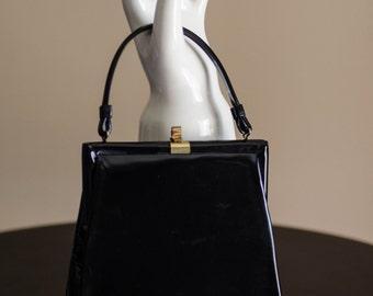 1950's Black Angle-Structured Patent Leather Handbag