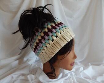Messy Bun Hat Pony Tail Hat - Crochet Woman's Fashion Hat - Green, Wine, Lavender, Beige