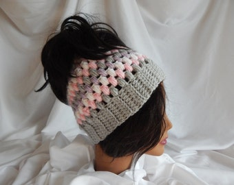 Messy Bun Hat Pony Tail Hat - Crochet Woman's Fashion Hat - Pink, Gray and Lavender