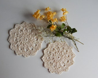 "Pair of Crochet Doilies - Off White Bege Ecru - Lacy Small 5 1/2"" - Set of 2"