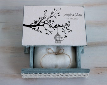 Personalized ring box Wedding ring box Love Bird Ring Box Gray wedding box Custom ring baearer box Spring wedding Love tree box Ring pillow