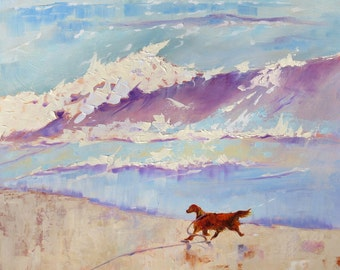 "Art Print. Red Setter. ""Whoosh!"" From my Original Oil Painting."