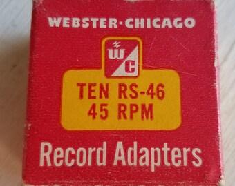 VIntage box of 8 metal 45 rpm record adaptors