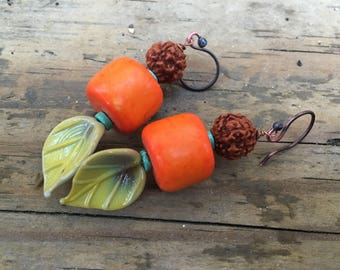 Tropics - Handmade Boho Chunky Earrings - Lampwork Leaf Headpins, Orange Stones, Prayer Beads, and Turquoise