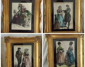 European Chromolithograph Costumes in Gold Fancy Frames