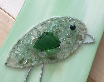 Original Art, broken glass, Green bird glass painting - mixed media - 5.5 x 13.75