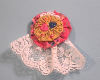 Fabric flower with hearts pin/brooch