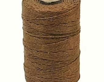 100 Yard Spool, 4 Ply Irish Waxed Linen, Walnut Brown Waxed Linen, Brown Waxed Linen, Waxed Linen, Crawford Threads Waxed Linen, Brown Cord