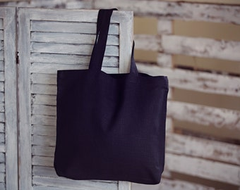 Black Linen Tote Bag - Canvas Bag - Black Color Linen Bag - Big Market Bag - Shopping Linen Bag