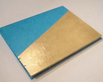 Boho Turquoise and Gold Leaf Guest Book Small: Gold Metallic Jewel Tone Wedding Guestbook