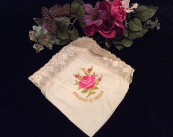Vintage  Silk Handkerchief Hankie Large Pink Rose with French Lace Border Souvenir of France