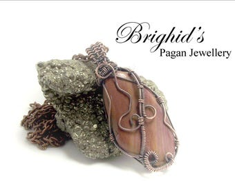 Wire Wrapped Mookaite Jasper Necklace Pagan Jewellery Crystal Healing