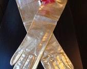 Gold Long Gloves Ladies Vintage Shiny Gold Gloves Size 6 1/2