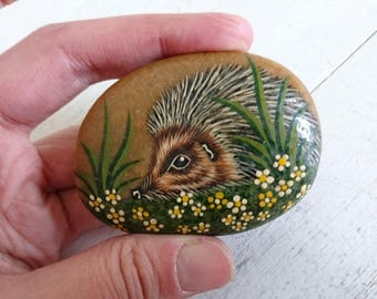 Hedgehog Painted Pebble - Animal Pebble