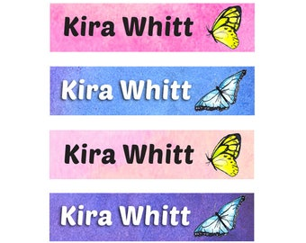 FAST SHIPPING! Iron On School Labels, Clothing Name Labels, Clothing Name Tags, Fabric Name Labels, Iron-On, Daycare, Girl, Butterflies