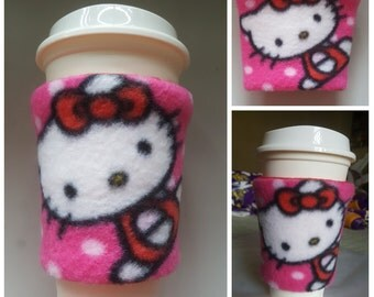 Fleece  Kitty Fabric Coffee Cup Cozy / Coffee Cup Sleeve /  Kitty Coffee Cup Warmer 12,16,20 Ounce Coffee Cup/ gift under 10 dollars