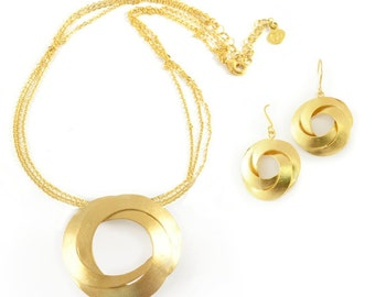 Gold jewelry set, gold necklace and earrings, modern jewelry set, gold jewelry set for women gold necklace earring set geometric jewelry set