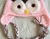 custom order- Infant Owl Hat - Pink & Brown