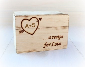 Recipe Box, Wedding Shower, Personalized Rustic Vintage Bridal Shower Gift