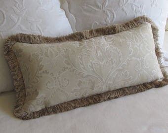 Fringed Pillow tone on tone/ivory, light beige and cream Pillow Cover damask  design fabric