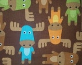 Woodland Pals Screen Print multi colored moose on brown bermuda color Earth Groove from Robert Kaufman Fabrics 1 yard cotton quilt fabric