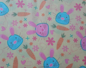 Snack bunny Bunnies and carrots on yellow by Micheal Miller fabric