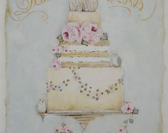 Original Vintage Style Old English Rose Cake painting on Panel, vintage Sign.
