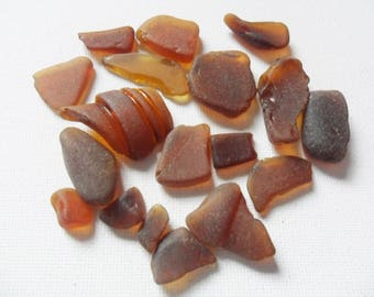Little pile of 18 amber brown sea glass - Lovely beach find pieces