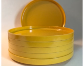 Set of SIX Vintage Yellow Heller Plates