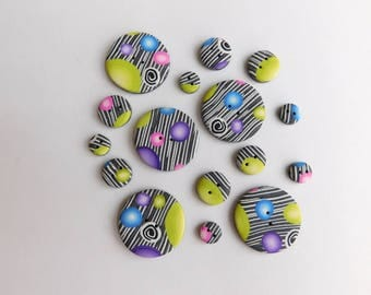 Polymer Clay Buttons, assorted sizes, set of 16