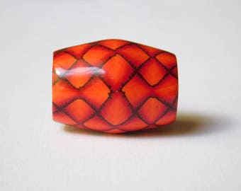 Polymer Clay Dread Bead, large hole bead, fiery red dragon scale bead with 11 mm bead hole