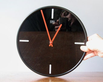 Rare Vintage 80's Kovacs Black Glass Wall Clock
