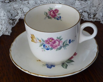 Scio Hazel Floral Cup & Saucer 1940's Rose Dishes Coffee or Tea Cups