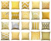 CLEARANCE Yellow Pillow Cover, Corn Yellow Throw Pillow, Mustard Pillow Case, Couch Pillows, 16x16 Zippered Pillow, Yellow Home Decor Pillow