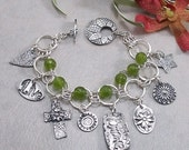 ON SALE: Peridot Green Quartz, Sterling Silver 2 Strand Bracelet w Metal Clay PMC Toggle & Charms