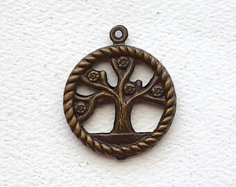 Tree Of Life Charm / Pendant /  Brass