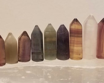 Fluorite Points, 9 pcs, Matched Pairs, Side Drilled, Energetic Stones #5med